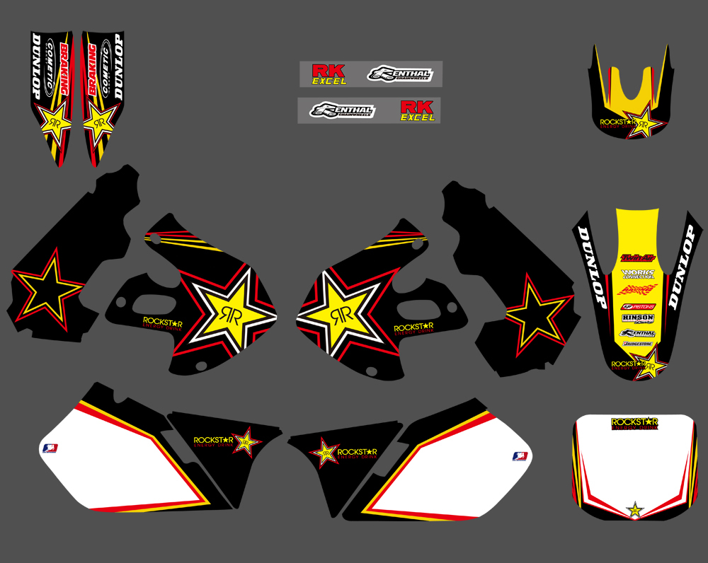 H2CNC Motorcycle Graphics Background Decal Sticker For Suzuki RM125 RM250 1999 2000 RM 125 250 Dirt