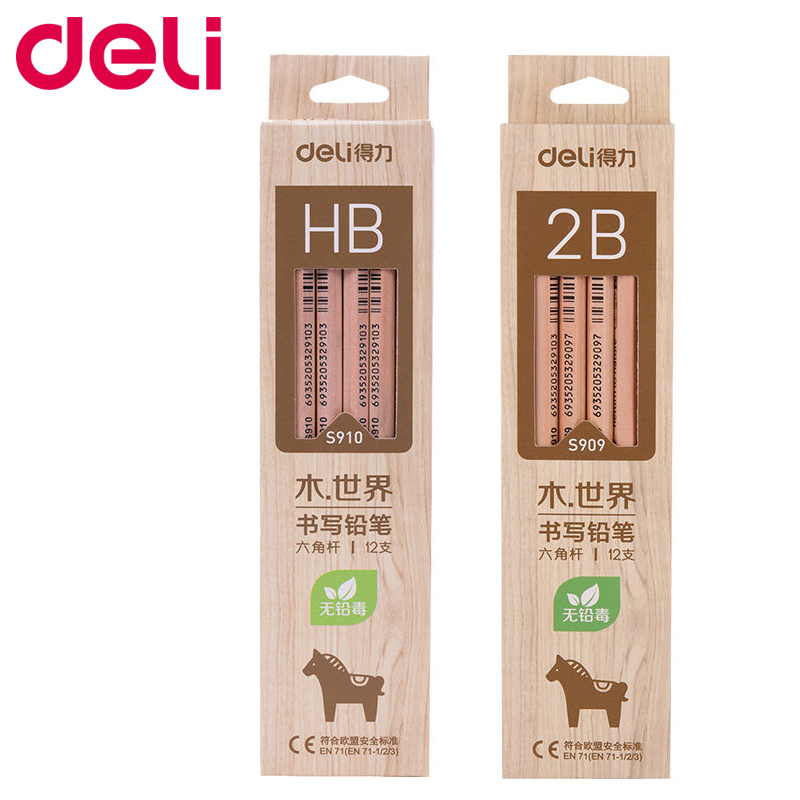 Deli 12pcs/Lot Wooden Lead Pencils HB 2B Pencils Stationery Office & School Supplies Wood Pencil For Student Drawing Writing