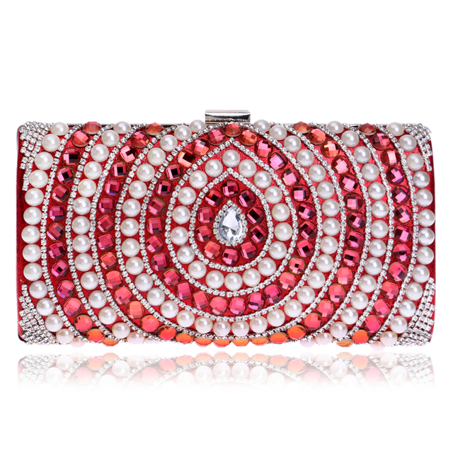 Red/Blue/Black/Silver/Gold Candy Color Women Evening Bags Beaded Wedding Diamonds Purse Handbags Messenger Chain Shoulder Bag