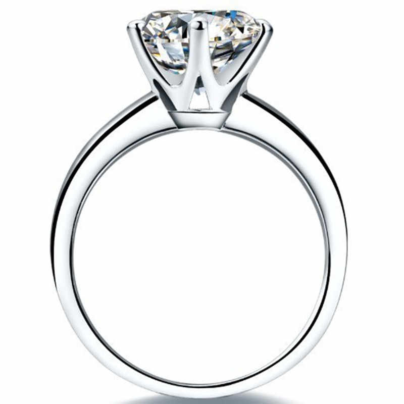 QYI 925 เงินสเตอร์ลิงแหวนผู้หญิงหมั้นแหวนเงินรอบเพชรจำลองงานแต่งงานของขวัญหลักหินขนาด 1/1. 5/2/3 CT