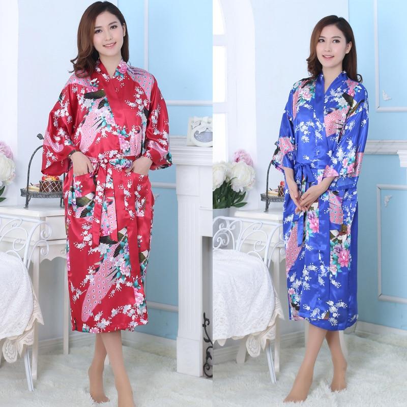 Silk Bathrobe Women Satin Kimono Robes For Women Flower Robes Long Kimono Robe Bride Silk Robe Dressing Gown Peacock Pajamas 16