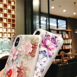 KISSCASE 3D Relief Floral Phone Case For iPhone 6s 7 XS Max Case Girly Silicon Cover For iPhone 6 S Cases iPhone 7 8 Plus XS XR 4