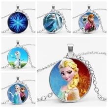 Новая подвеска с Анной подвеской Ge Elsa, ожерелье с изображением героев мультфильмов для девочек, ожерелье с драгоценными камнями, подарок для девочек, цепочка с мультяшным свитером