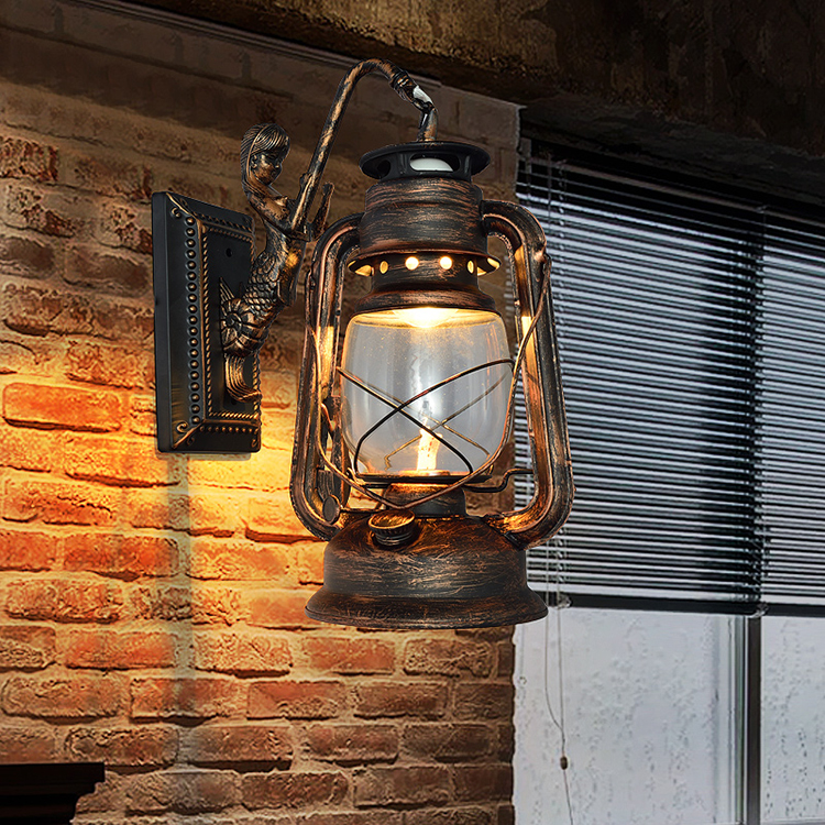 European Style Vintage Loft Lustre Kerosene Lantern Wall Sconce Lamp For Bar Coffee Restaurant Room Home Decor Lighting Fixture купить