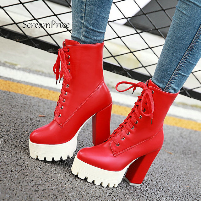 c0d3de43710 US $29.83 48% OFF|High Heel Martin Lace Up Boots Fashion Platform Ankle  Boots Women Autumn Winter Ladies Shoes White Black Red 2018 Dropshipping-in  ...