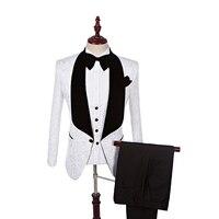 2017 Yeni Stil Groomsmen Şal Yaka Damat Smokin Kırmızı/Beyaz/Siyah Erkekler Düğün İyi Adam Suits Blazer (ceket + Pantolon + Kravat + Yelek)
