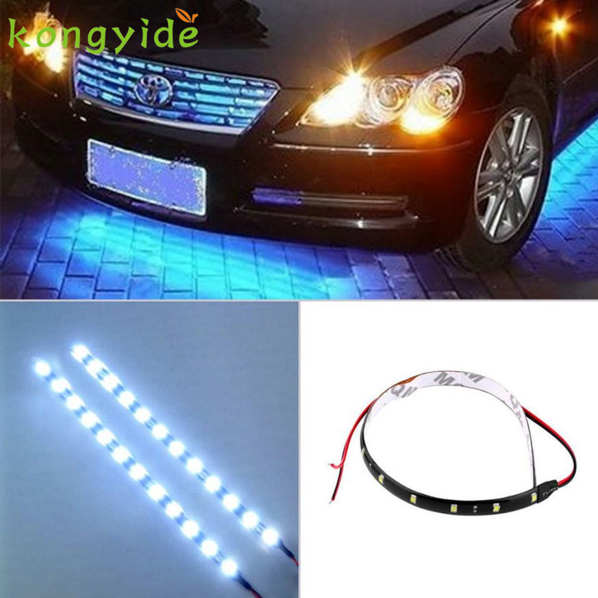 NEW 30cm 12V 15 LED Car Auto Motorcycle Waterproof Strip Lamp Flexible Light fashion hot luz ligero drop shipping 17july22 2017 2pcs 30cm led white car flexible drl daytime running strip light soft tube lamp luz ligero new hot drop shipping oct10