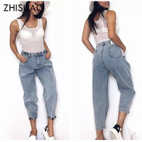 Women Summer 2019 Mom Jeans Harem Jeans Casual Denim Pants Boyfriends Jeans Femme Trousers Ripped Jeans Vintage Retro
