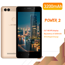 Leagoo power 2 face id impressão digital smartphone 2 gb + 16 gb câmera dupla 3200 mah android 8.1 mt6580a quad core 5.0