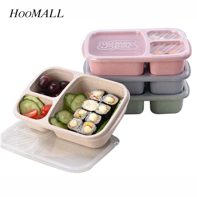 Hoomall Straw Food Container Lunch Box Children Kids School Portable Bento Box Fit Hiking Camping Kitchen Accessories Dinnerware