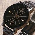 KEVIN Design Elegante Das Mulheres Dos Homens Senhoras Relógio Com Cinta de Aço Inoxidável Preto Para O Natal Aniversário de Namoro