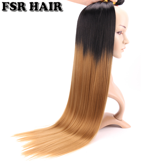 30 inch Over length #T1B/27 Yaki Straight Hair Bundles 100 Gram one Piece Ombre Synthetic Hair Weave for women 1