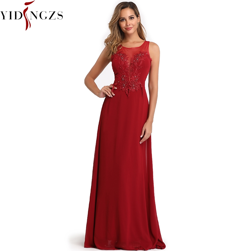 YIDINGZS Chiffon Formal Brimdesmaid Dress See-through Appliques Beading Long Wedding Party Dress
