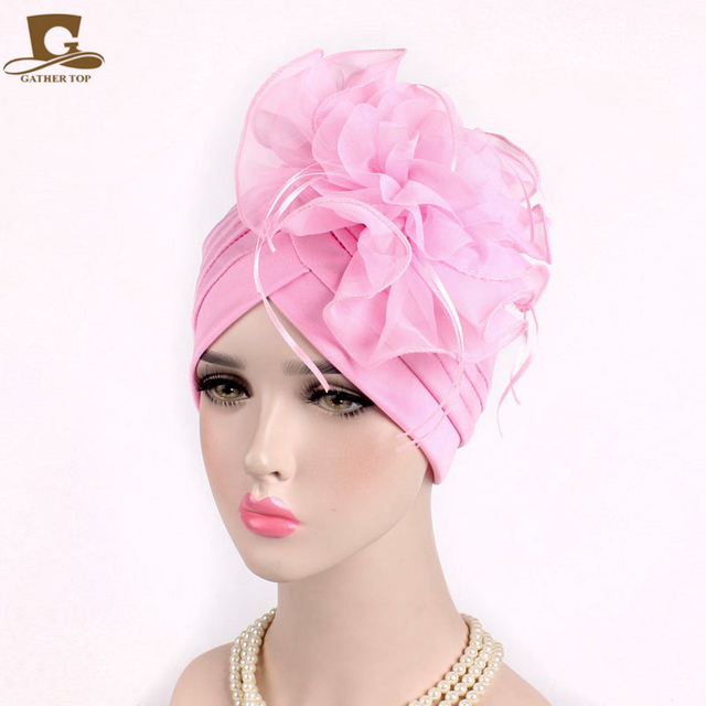 10 pcs lot Fascinators Hats Womens Ruffle Turban Headwear With Big Poplin  Flower Cocktail Wedding Tea Party Hat Indian Turban b8d4b64946c