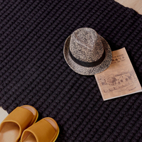 Pure Black Thick Cotton Carpet Soft Baby Crawling Blanket Bedroom Carpet