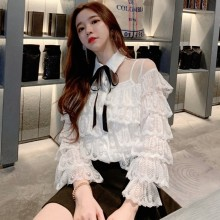 Novelty See-through Ruffle lace blouse shirt women Hollow out floral female tops Elegant fashion vintage autumn