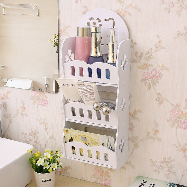 Bathroom Shelf Cosmetic Organizer Makeup Organizer Wall Mounted Toilets  Toilets Countertops Corner Wash Cosmetics Storage