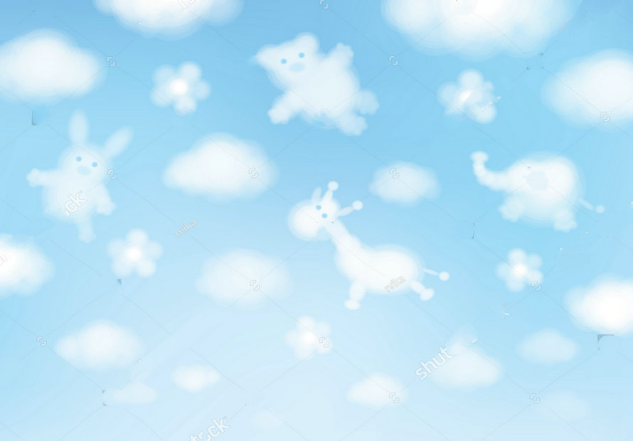 baby cloud sky animals cartoons backdrops polyester or Vinyl cloth High quality Computer print wall backgrounds