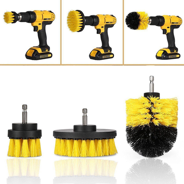 3 pcs Power Scrubber Brush Set for Bathroom | Drill Scrubber Brush for Cleaning Cordless Drill Attachment Kit Power Scrub Brush 1