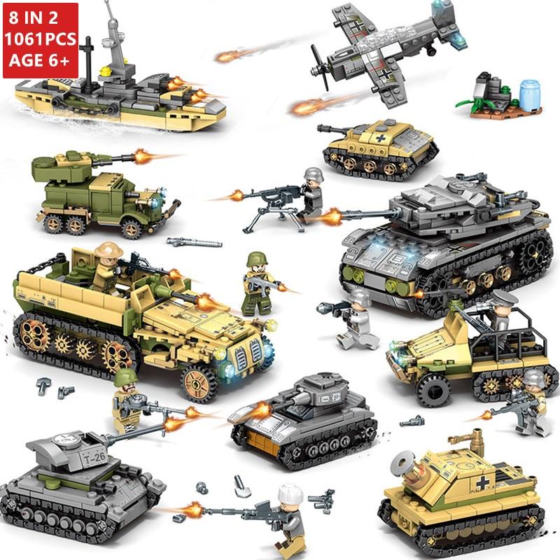 1061Pcs Military Technic Tank Model Building Blocks Sets Weapon Creator Army WW2 Bricks Educational Toys for
