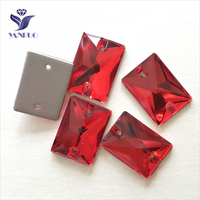 YANRUO 3250 All Sizes Lt.Siam Rectangle Glass Strass Flat Back Rhinestone Sewing Stones Sew On Crystal For Shoes