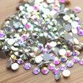 SS3-SS30 Super Brilhante Cristal AB Cor Nail Art Decorações Strass Não Hotfix Apartamento de Volta Pedras de Strass Unha Suprimentos