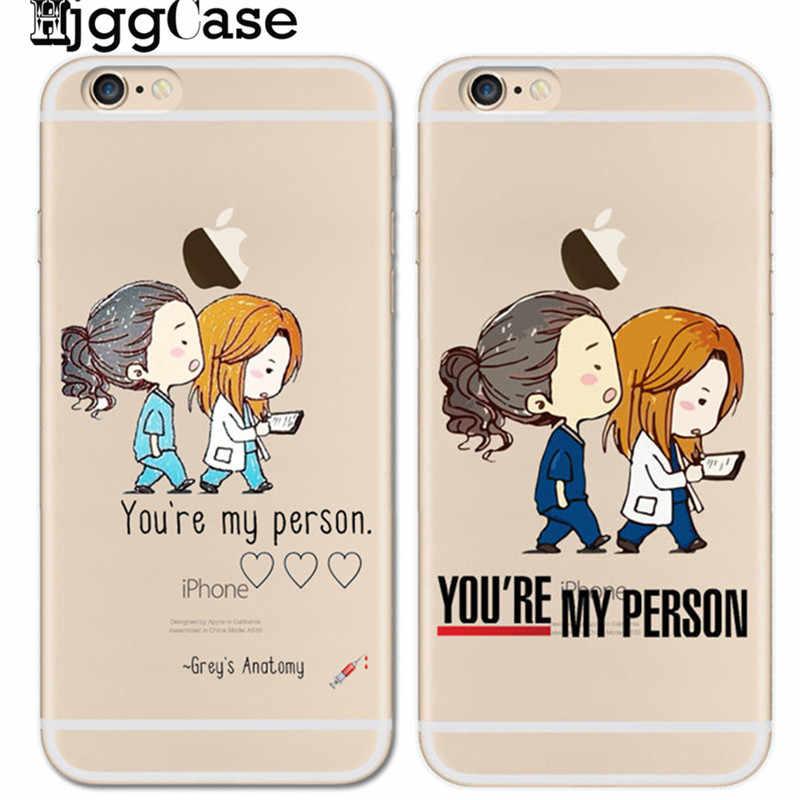 HjggCase Você é A Minha Pessoa Caso Dos Desenhos Animados Para o iphone X 8 8 Além de 7 7 Plus 6 6 s Plus 5 5S SE Greys Anatomy Macio TPU Tampa Do Telefone Coque