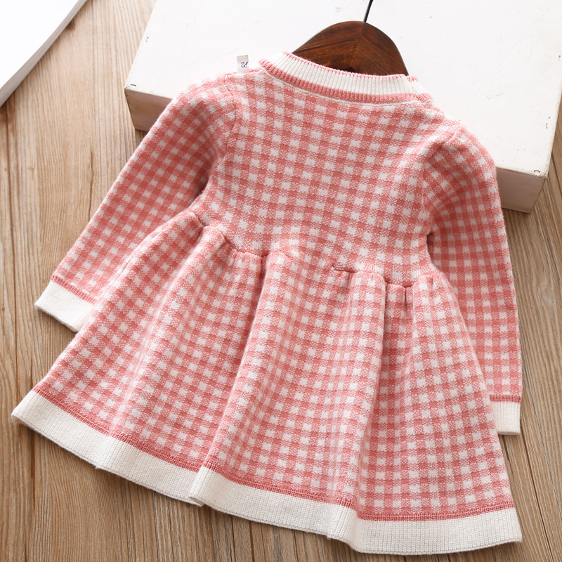 2020 Autumn Winter Baby Long Sleeve Plaid Sweater Dress For Baby Girls 1 Year Birthday Dress Infant Baby Wedding and Party Dress 6