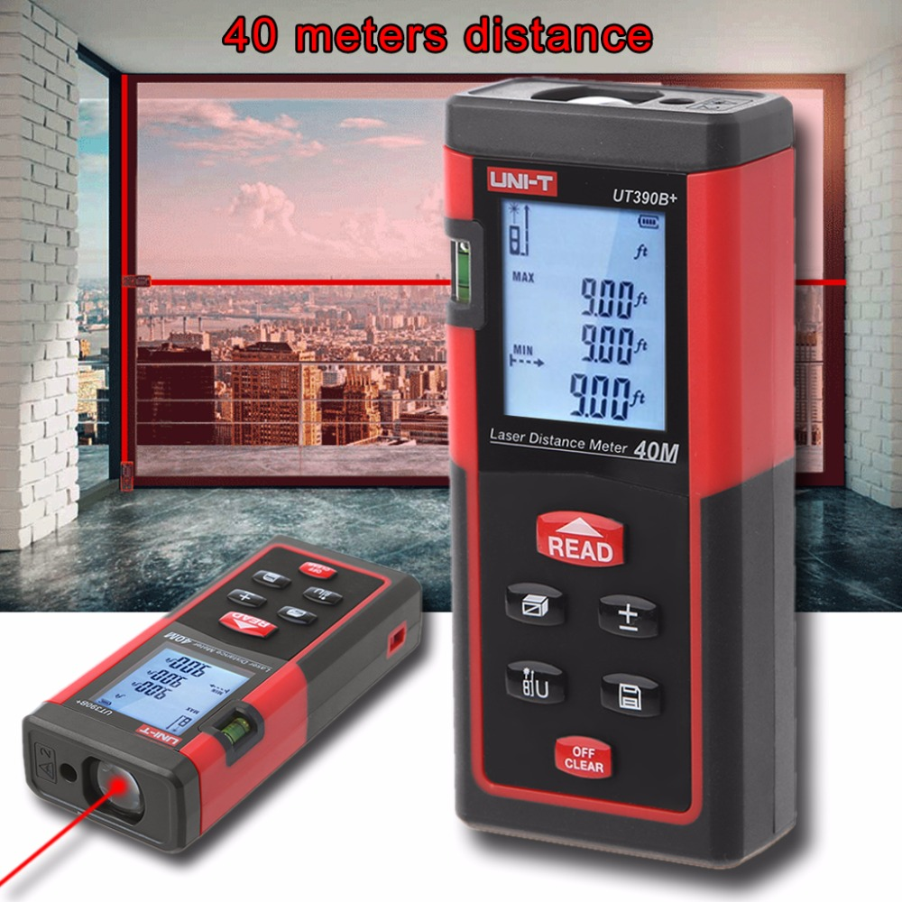 UNI-T 40M Digital Laser Rangefinder 131ft Handheld Distance Meter Trena Laser Range Finder Area-Volume-Angle Tape Measure Tool sndway sw e40 rree shipping rz40 131ft laser rangefinder 40m distance meter digital laser range finder tape area volume angle