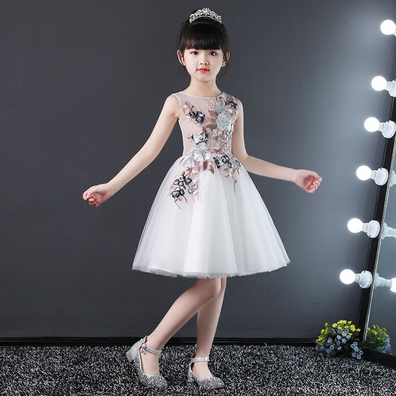 Embroidery Floral Princess Prom Dress Ball Gown Flower Girl Dresses for Wedding Sleeveless Kids Pageant Dress for Birthday Party flower girl dresses for weddings evening party dress embroidery sleeveless tulle princess ball gown dress vestidos mujer d30