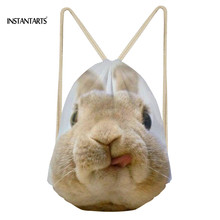 INSTANTARTS 3D Cute Bunny Prints Women Girl Drawstring Bag Fitness Light Mini Backpack Fashion Casual Travel Storage Rucksack