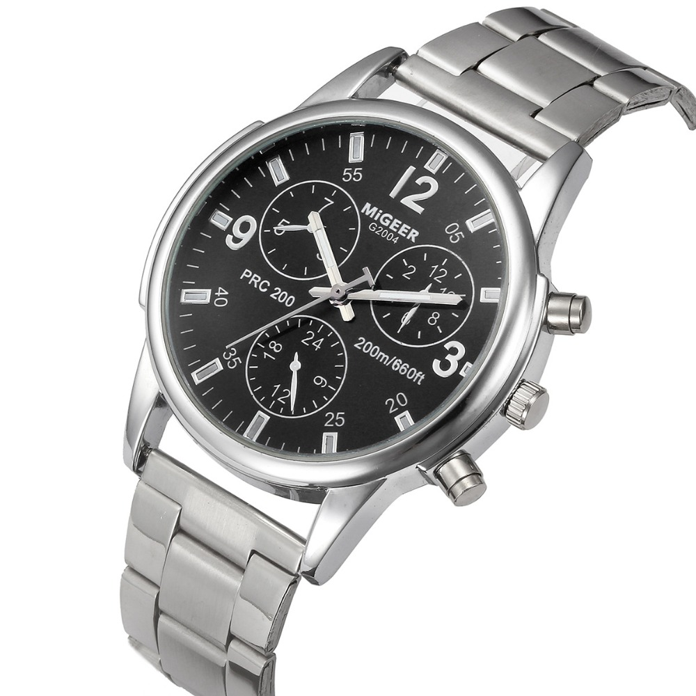 Man watch 2018 MiGEER Famous Brand Watches Crystal Stainless Steel Analog Wrist Watch Clock Men Silver Watch 100pcs/lot