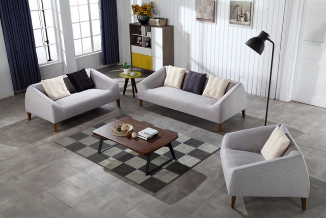 Contemporary Modern Storage Linen Fabric Sofa Grey living room sofa set 1+2+3 made in China