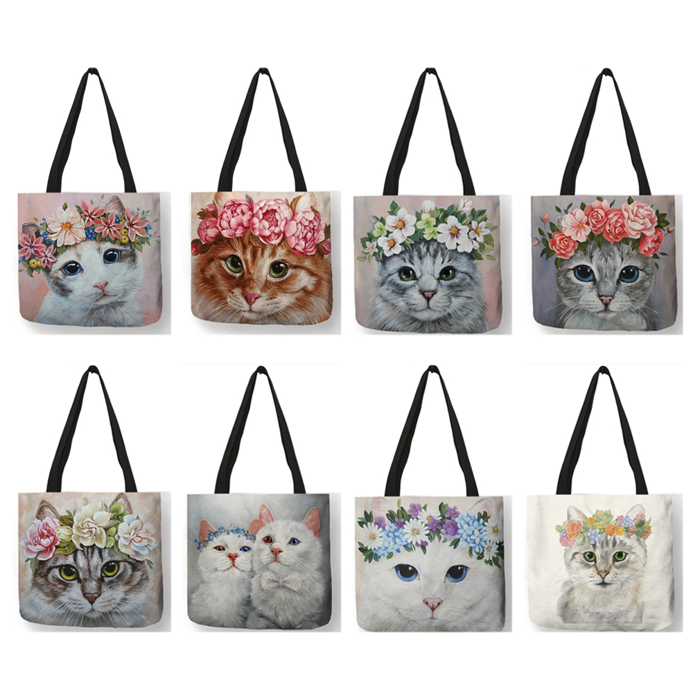 New Arrival Women Fashion Bags Floral Cat Print Handbag Casual School Shoulder Bags Reusable Shopping Tote Bag  B01079