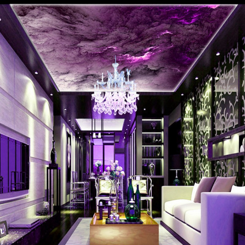 wallpaper 3d Dream Purple Colorful Oil Painting Clouds Sky Custom mural Living room celling decorative backdrop book knowledge power channel creative 3d large mural wallpaper 3d bedroom living room tv backdrop painting wallpaper
