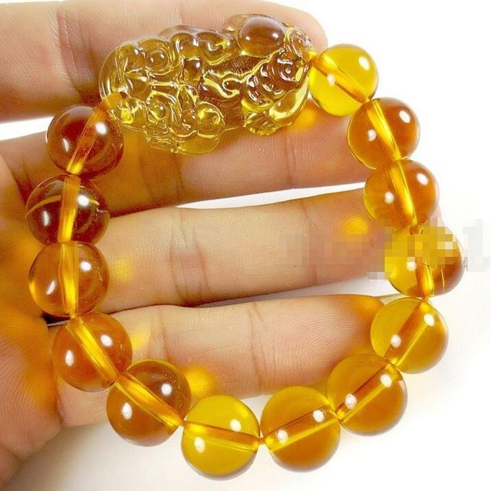 Precio al por mayor 16new ^ feng shui cristal amarillo PI Yao Xiu PI Xie pulsera riqueza 14mm