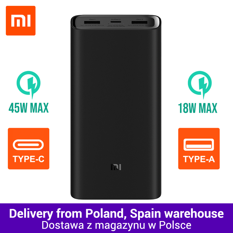 20000mAh Xiaomi Power Bank 3 Mi Power Bank 20000 mAh Pro PLM07ZM with Triple USB Output USB-C 45W Two-way Quick Charge(China)