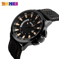 Skmei grand cadran d'affaires hommes montre bleu lentilles de quartz hommes montres top marque de luxe big montre-bracelet calendrier complet 9152