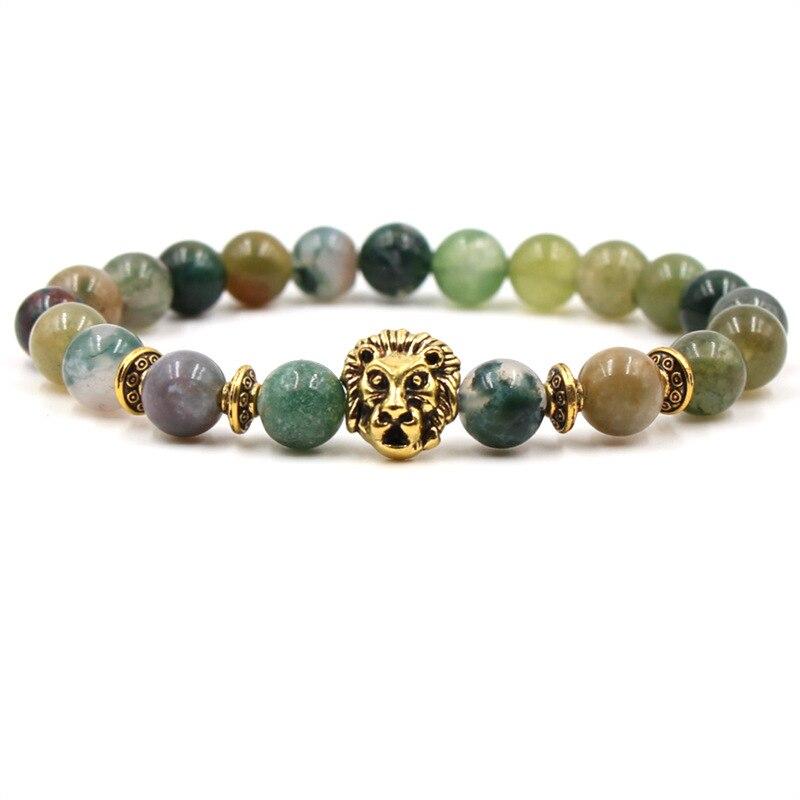 Fashion Trendy Lion Head Gold Leopard Bracelet Natural Stone Man Women Accessories Elastic Bracelets Dropshipping