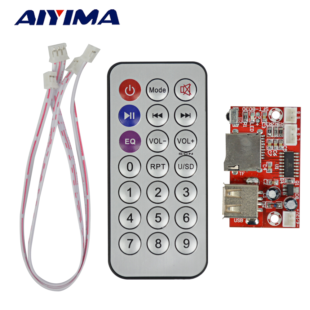 AIYIMA Mini Audio Module USB MP3 Plyer Decoder Board DC5V-12V WAV Lossless Decoding TF Card Decoder Board tf card u disk mp3 format decoder board module amplifier decoding audio player