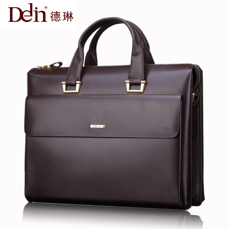 цены 2018 Delin brand business men bag handbag big briefcase men shoulder bag cross section leather Briefcase Satchel Bags For Men