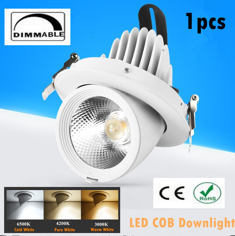 1pcs Dimmable LED Trunk Downlight COB Ceiling 10W 15W 20W 30W AC85-265V Adjustable recessed led Indoor Light cob led downlight