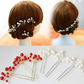 Wholesale Hair Jewelry Accessory Wedding Bridal Bridesmaid Red White Pearl Flower Hairpins Headpiece Hair Pins Clips Tiara HP007