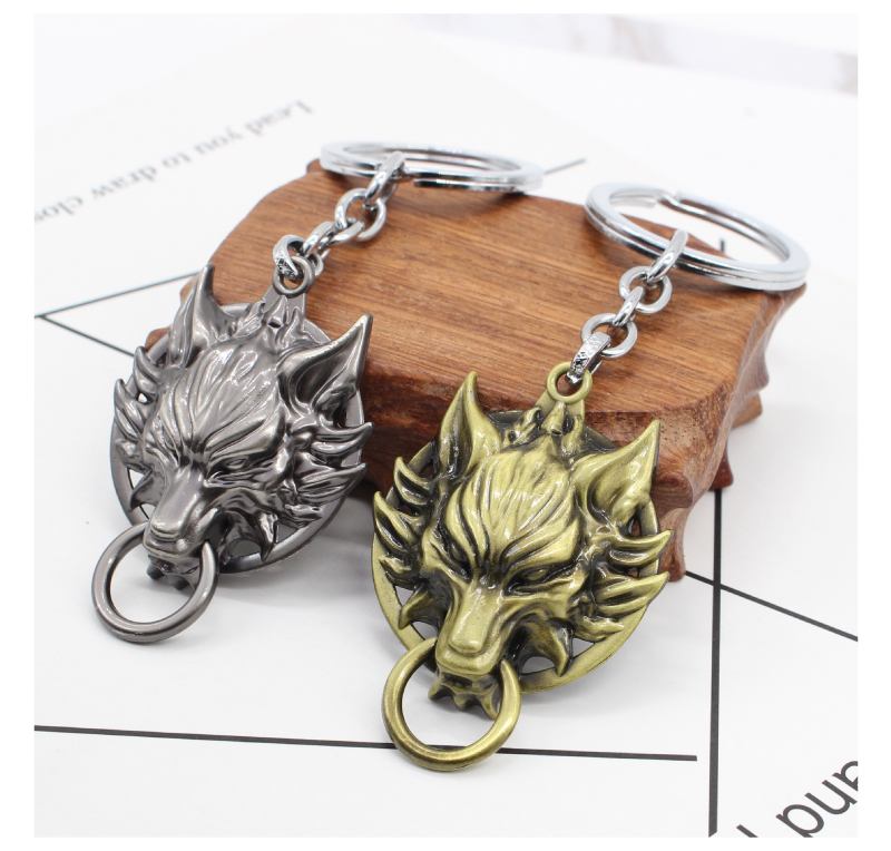 Movie <font><b>Final</b></font> <font><b>Fantasy</b></font> <font><b>7</b></font> Keychain Vintage Gothic Wolf Head Holder Bronze Silver Animal Key Chain Key Ring Pendant toy gift image