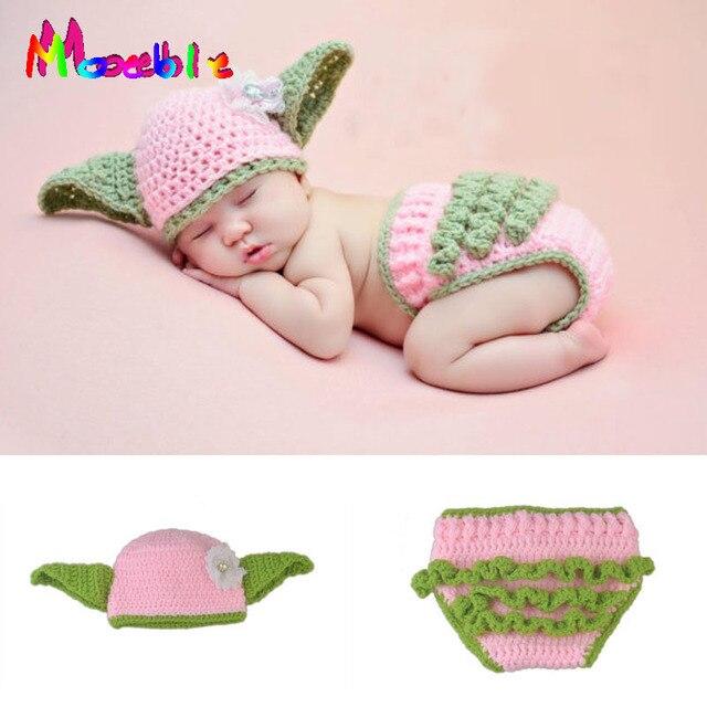Crochet bebé recién nacido Yoda trajes infantil fotografía de punto ...