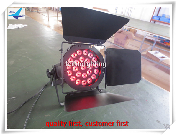 free shipping 6pcs/lot 24x15w Led Par Light with Barn Door RGBWA 5in1 Multi Color Strobe Flash DMX DJ Party Disco Par Wash Can