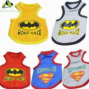 Summer Pet Dog Superman Batman Vest T-Shirts Clothing Puppy Cat Cotton Road Race Vests T-shirt Clothes For Small Dogs Costumes