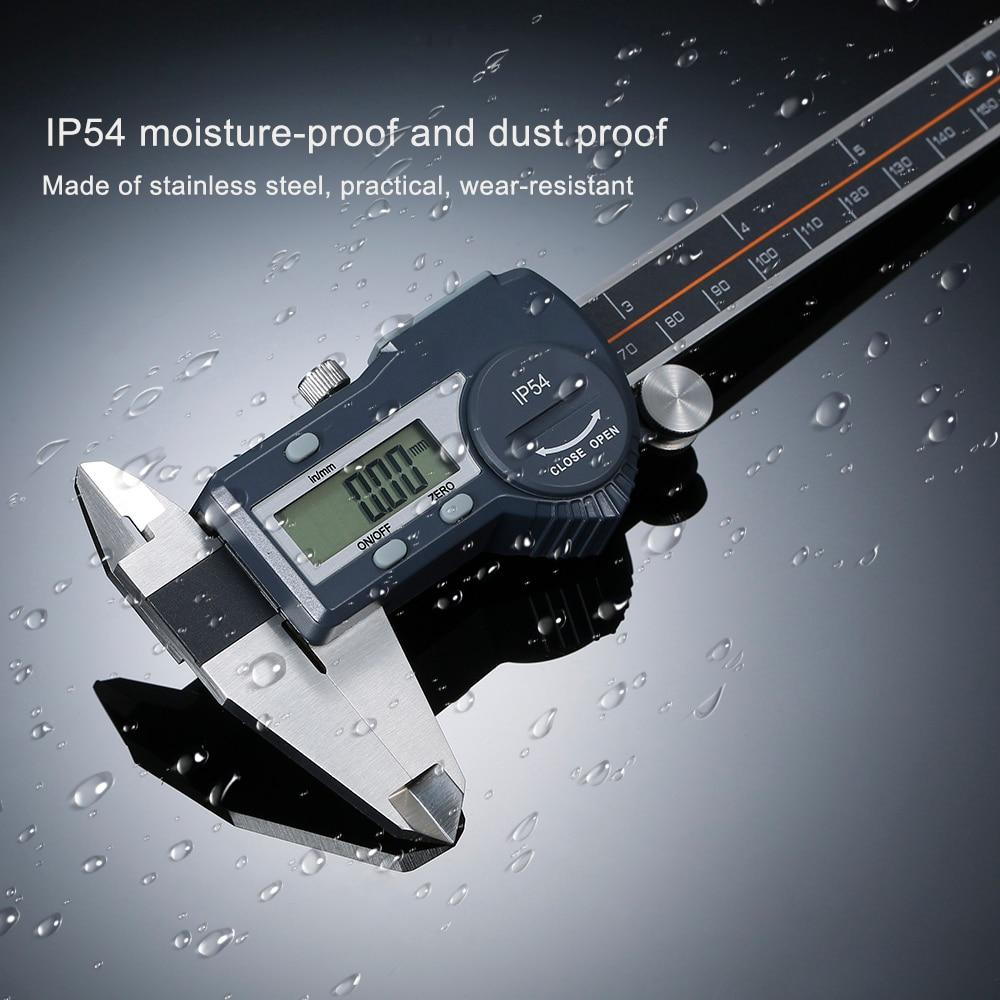 Pied à coulisse numérique en acier inoxydable outil de mesure mm/pouce commutable IP54 pied à coulisse étanche 100mm 150mm 200mm 300mm