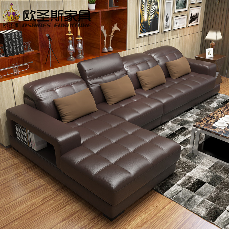 New model l shaped modern italy genuine real leather for Latest living room furniture
