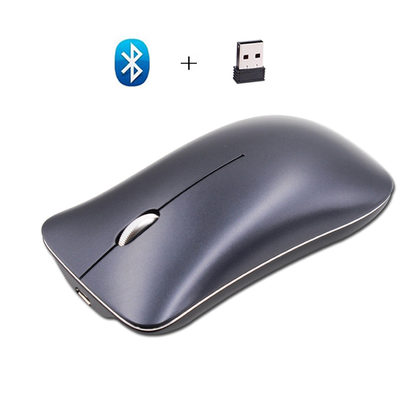 Cliry Dual Mode Aluminum Alloy Wireless 2.4Ghz+Bluetooth 4.0 Mouse 1600 DPI Ultra-thin Recharge Portable High Class Optical Mice